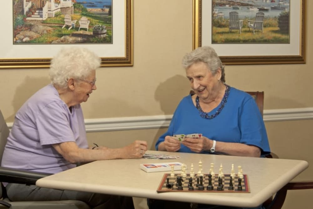 Residents playing a game at Patriots Glen in Bellevue, Washington.