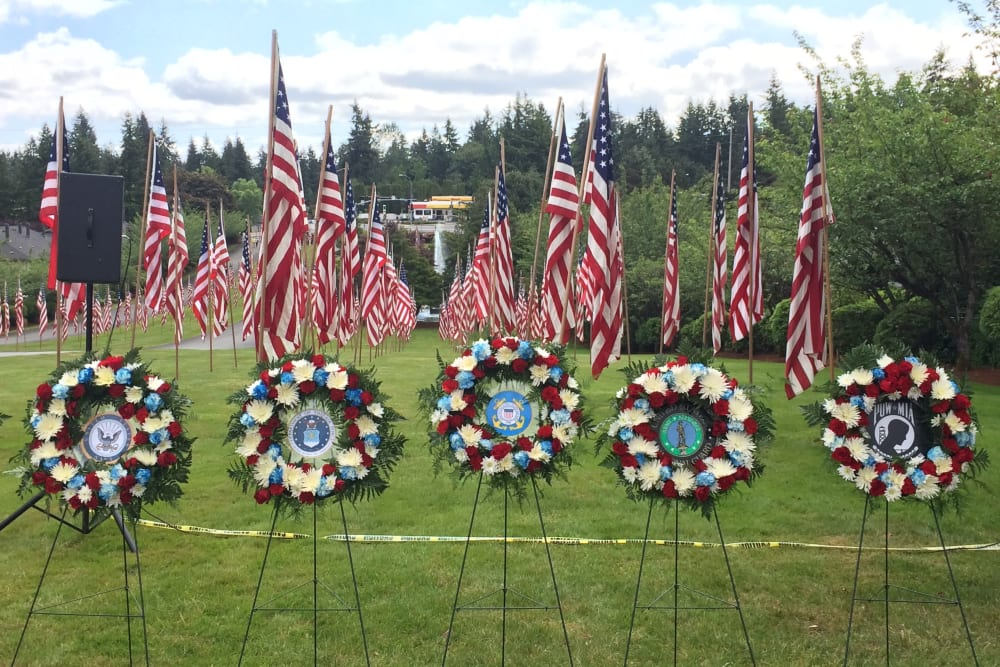 Memorial flags at Patriots Glen in Bellevue, Washington.