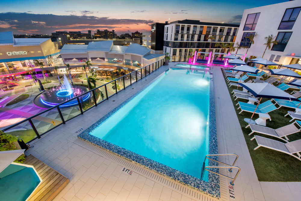 Nightlife view of the pool at The Flats in Doral, Florida