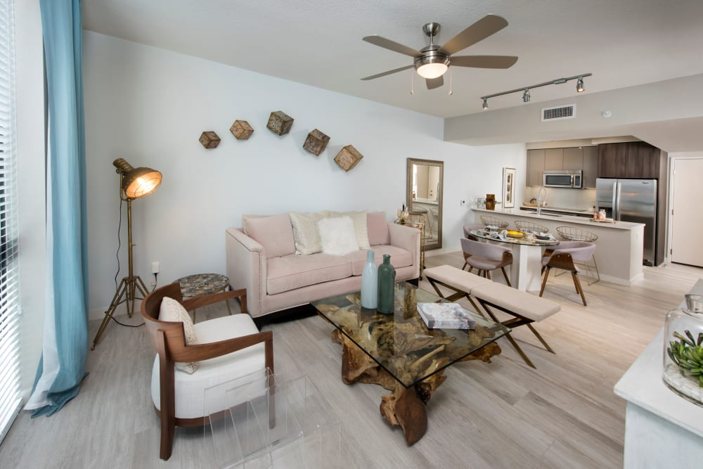 Modern decor and ceiling fan in living room at The Flats in Doral, Florida