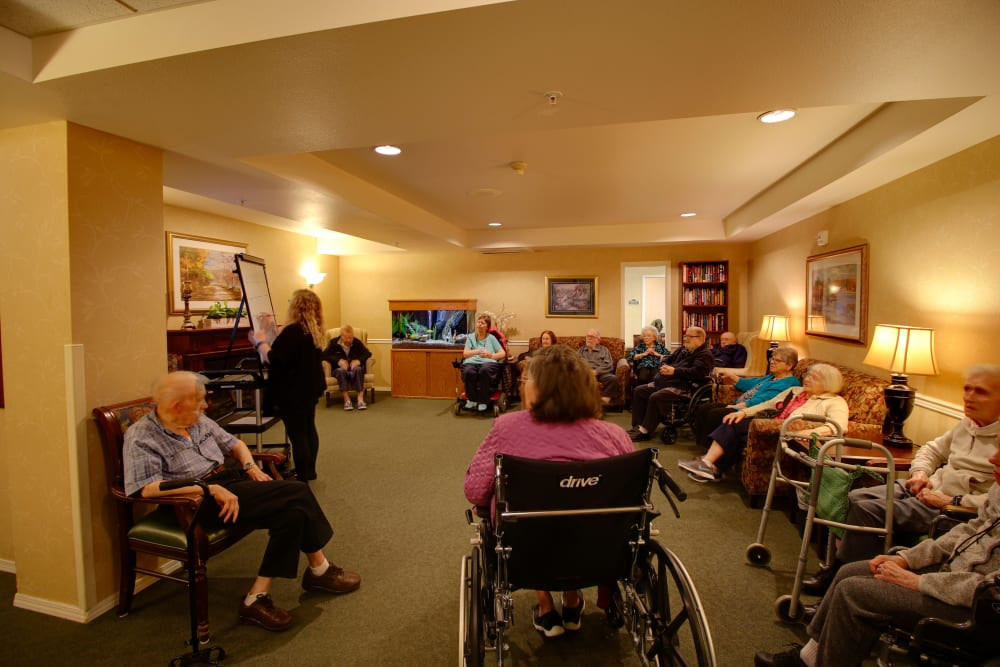 A group discussion at Patriots Glen in Bellevue, Washington.