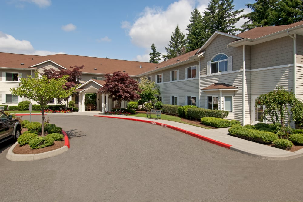 Main entrance at Patriots Glen in Bellevue, Washington.