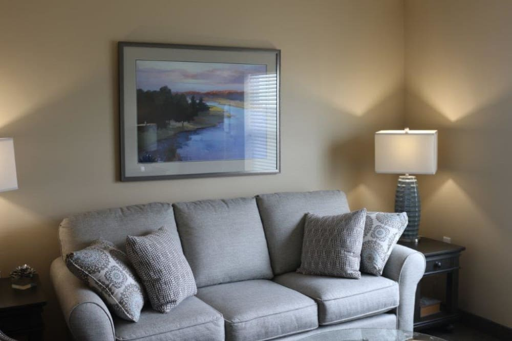 Senior apartment living room at Keelson Harbour in Spirit Lake, Iowa