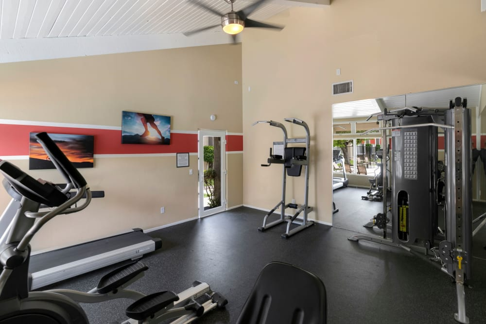 Fitness center in the clubhouse at The Heights at Grand Terrace in Grand Terrace, California