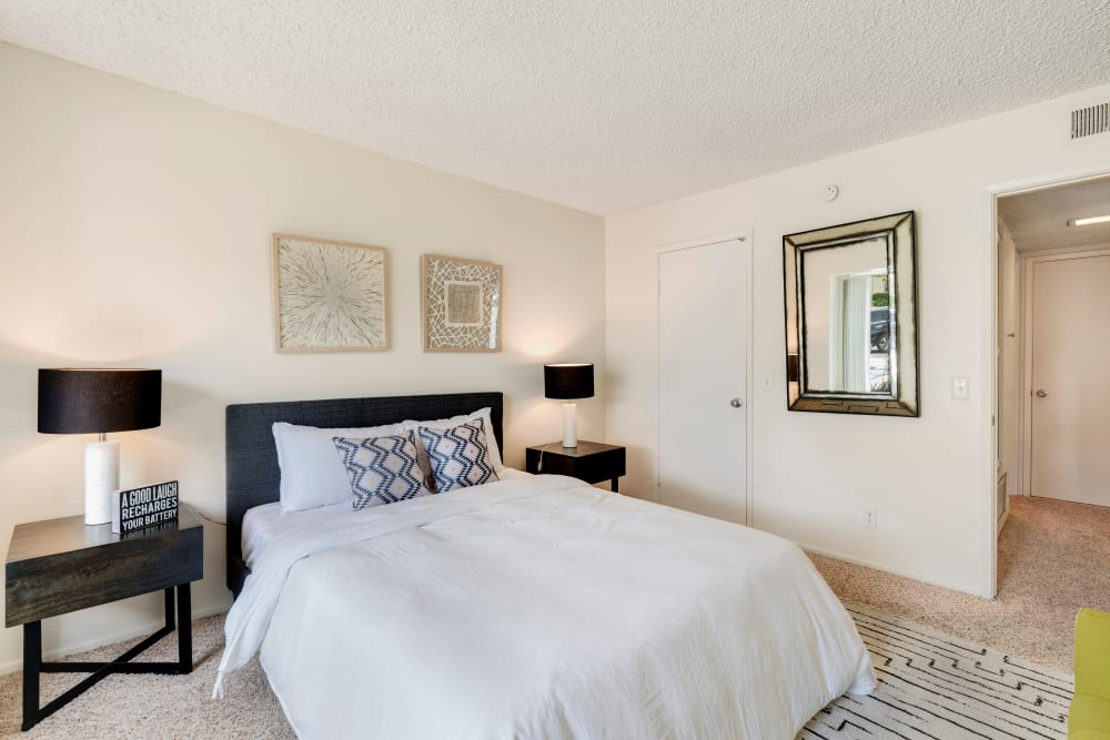 Model bedroom at The Heights at Grand Terrace in Grand Terrace, California