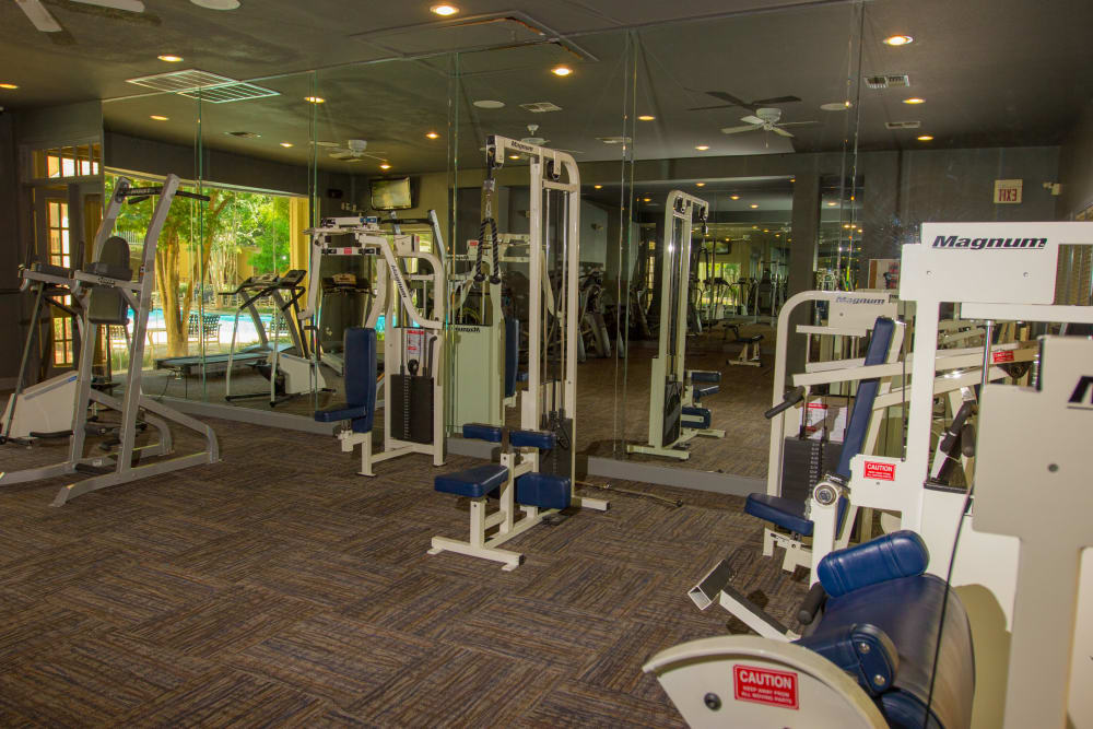 Large fitness center available for residents at at The Lodge at River Park in Fort Worth, Texas