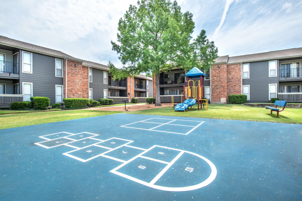 Hopscotch and ball court available on site at The Madison in Dallas, Texas