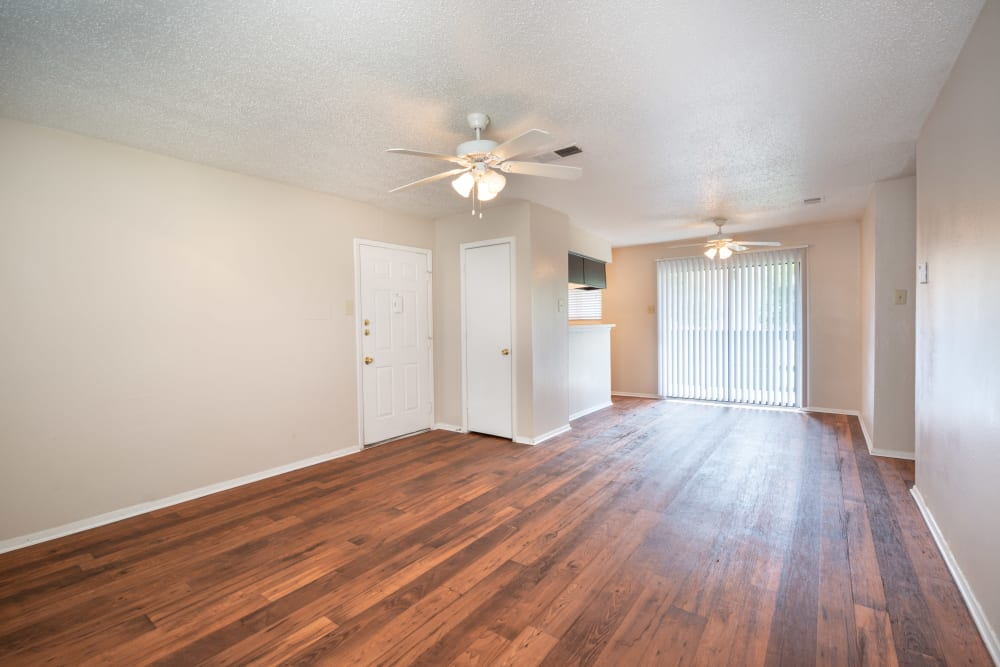 Hardwood floors in model home layout of living room at The Madison in Dallas, Texas