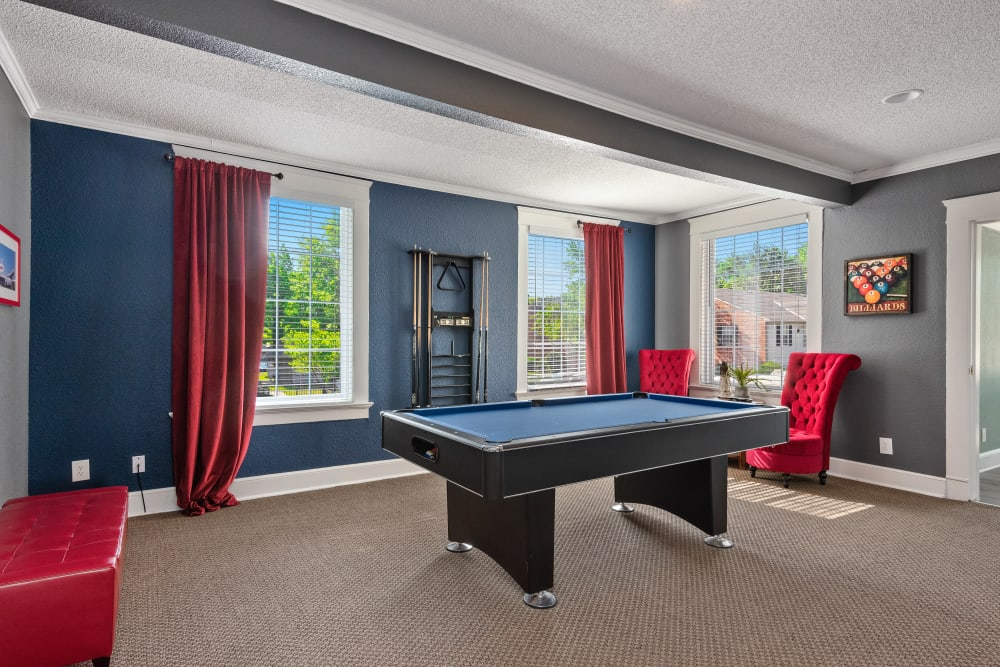 Pool table for residents to use in the clubhouse at The Mansion in Independence, Missouri