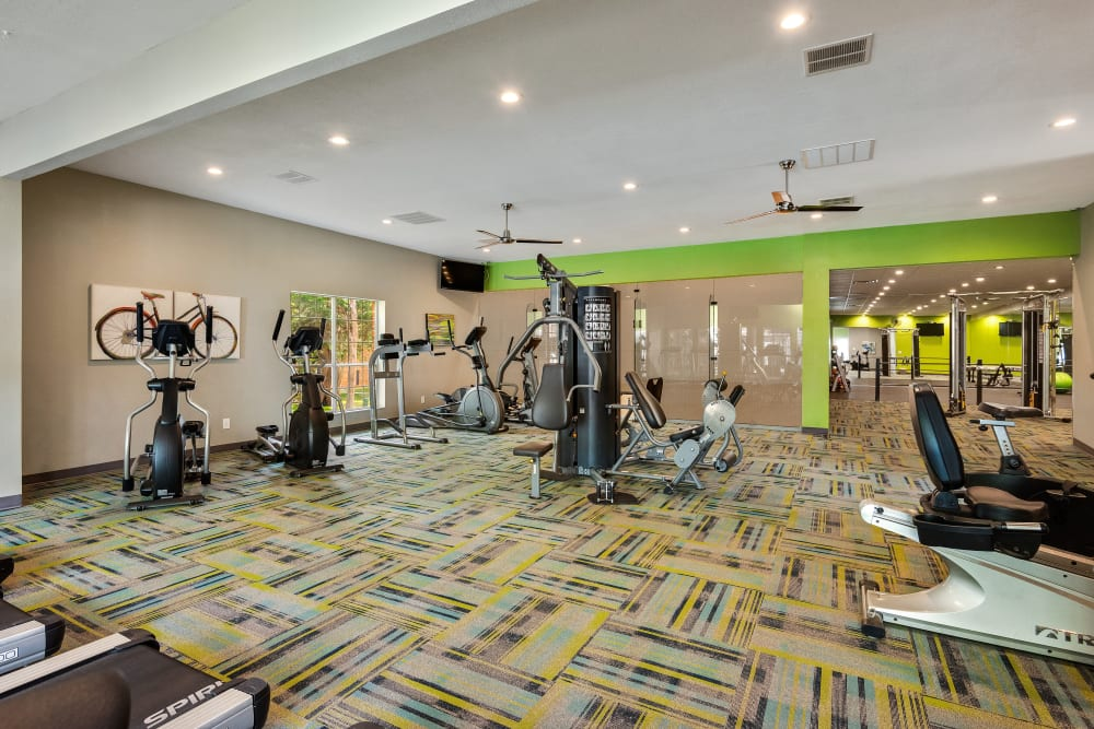 Well equipped fitness center at The Mansion in Independence, Missouri