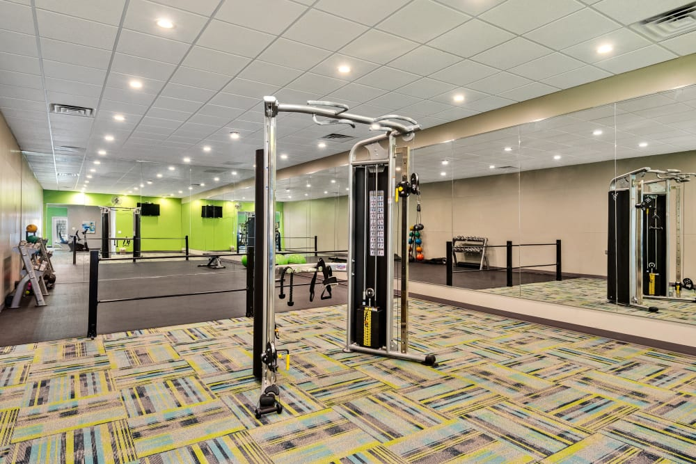 Plenty of weight machines to use in the fitness center at The Mansion in Independence, Missouri