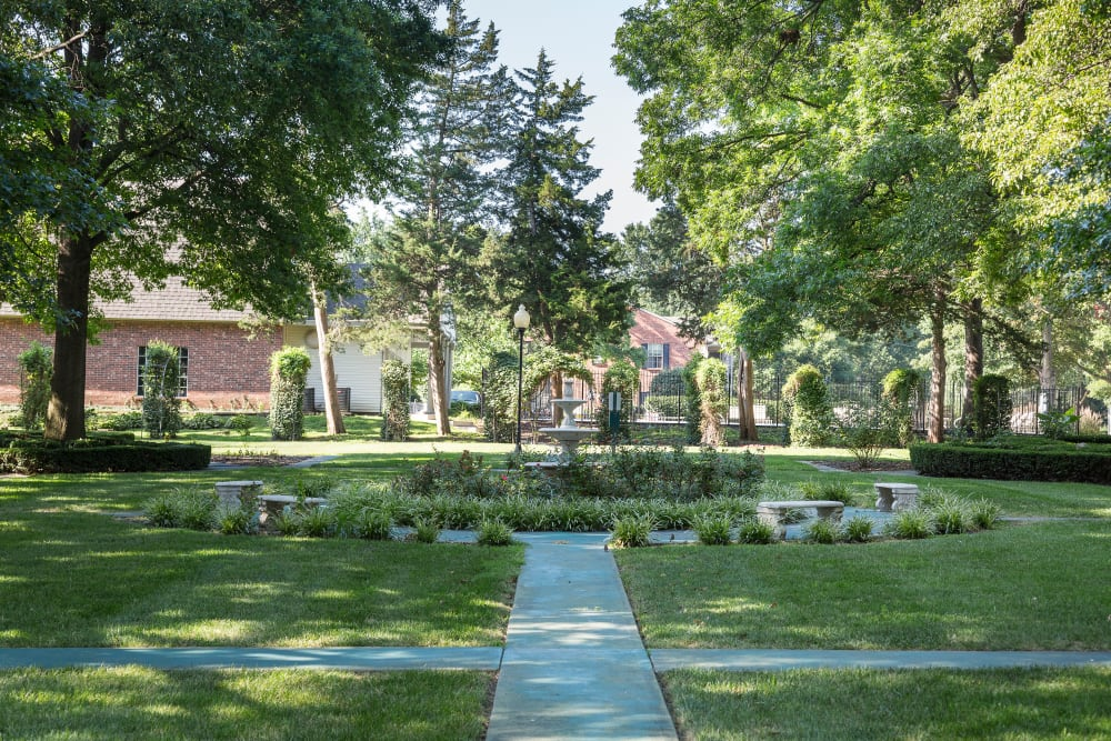 Walkway to a fountain at The Mansion in Independence, Missouri