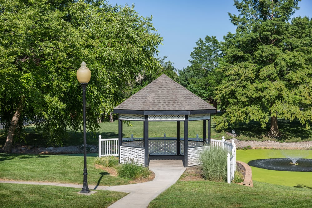 Pathways to an on-site gazebo at The Mansion in Independence, Missouri