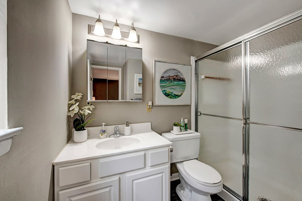 Bathroom featuring white vanity and glass door shower bathtub at Heritage Woods in Bel Air, Maryland
