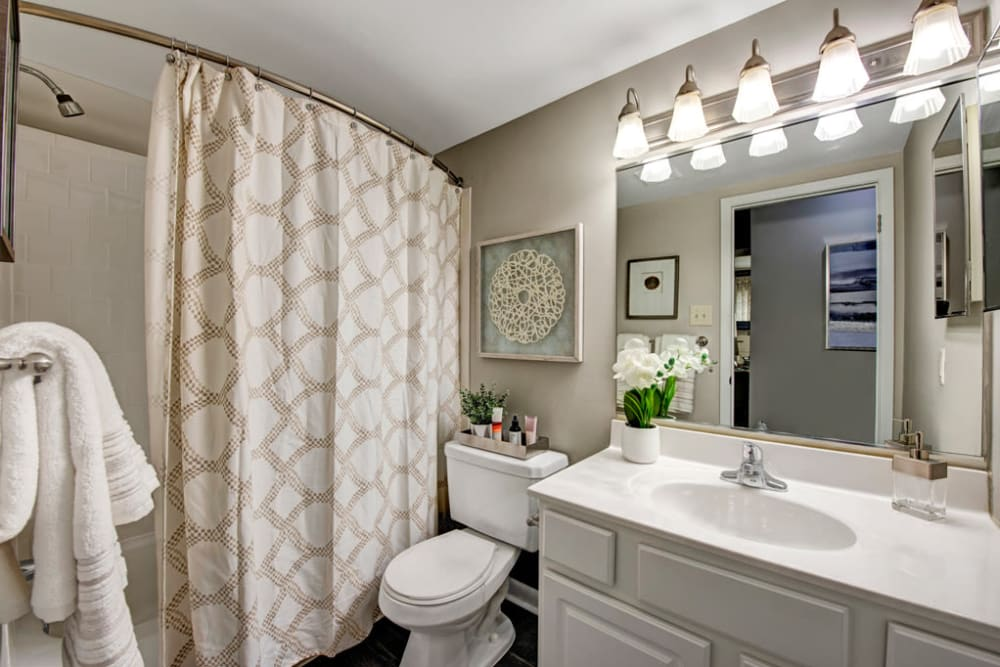 Light and bright bathroom at Heritage Woods in Bel Air, Maryland
