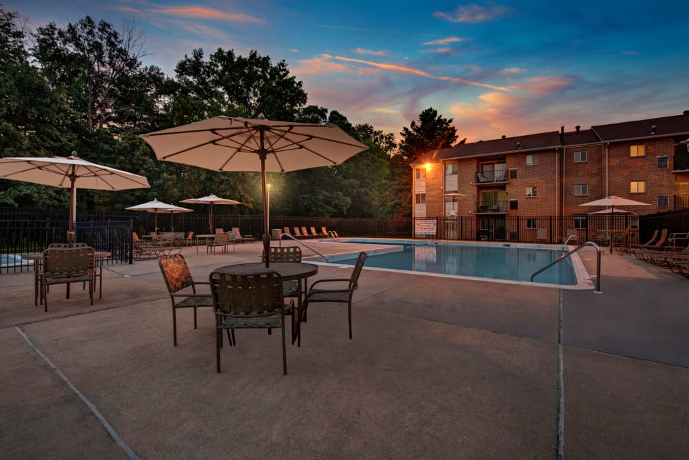 Sunset by the pool at Heritage Woods in Bel Air, Maryland