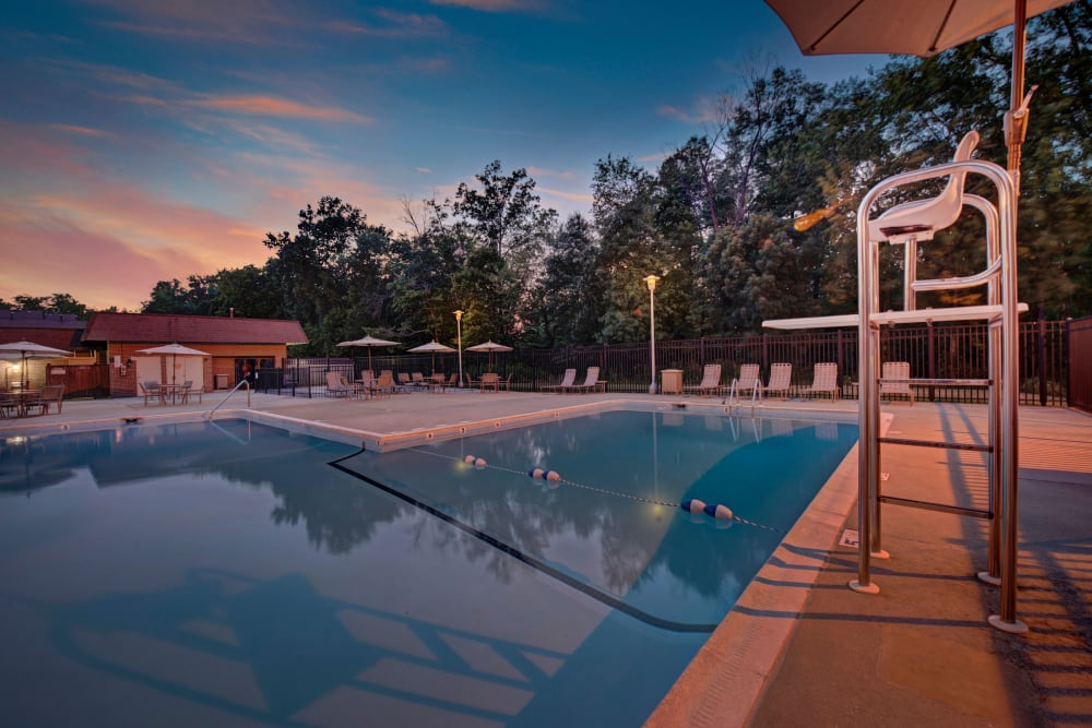 Lifeguard stand overlooking community pool at sunset at Heritage Woods in Maryland