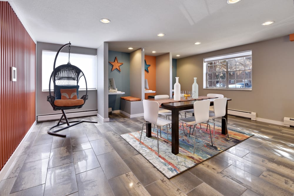 Modern business center with Hardwood floors at Ten 30 and 49 Apartments in Broomfield, Colorado