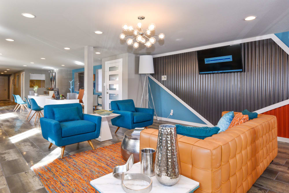 Modern decor in Clubhouse with TV at Ten 30 and 49 Apartments in Broomfield, Colorado