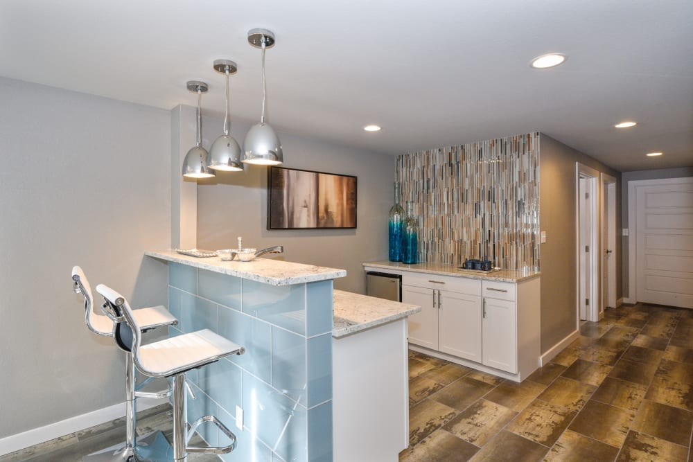 Clubhouse kitchen for residents to use at Ten 30 and 49 Apartments in Broomfield, Colorado