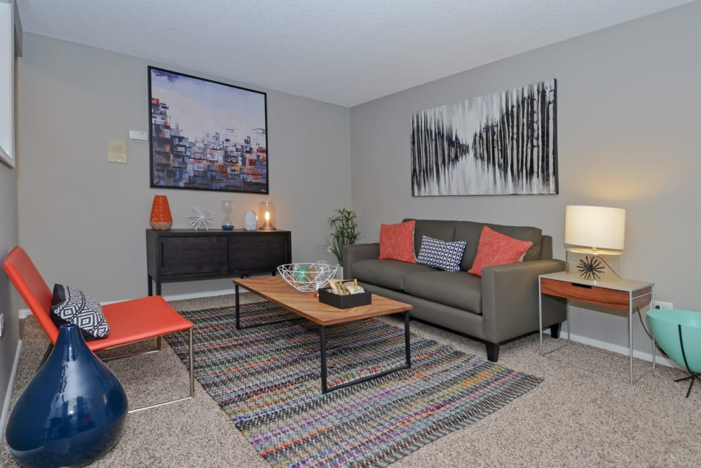 Modern Decor in the model home living room at Ten 30 and 49 Apartments in Broomfield, Colorado