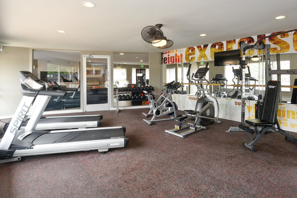 Treadmills included in the fitness center at Ten 30 and 49 Apartments in Broomfield, Colorado