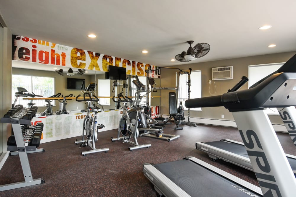 Plenty of individual aerobic stations in the fitness center at Ten 30 and 49 Apartments in Broomfield, Colorado