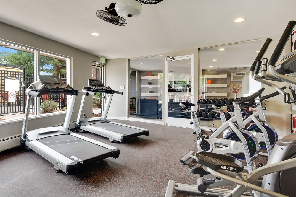 Well equipped fitness center at Ten 30 and 49 Apartments in Broomfield, Colorado
