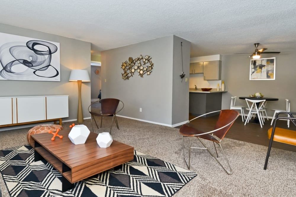 View from the living room of kitchen and dining nook at Ten 30 and 49 Apartments in Broomfield, Colorado