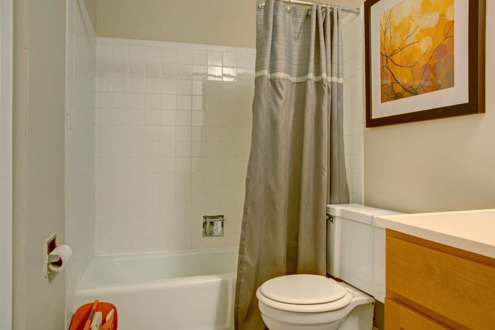 Model bathroom with oval tub at The Gates of Deer Grove in Palatine, Illinois