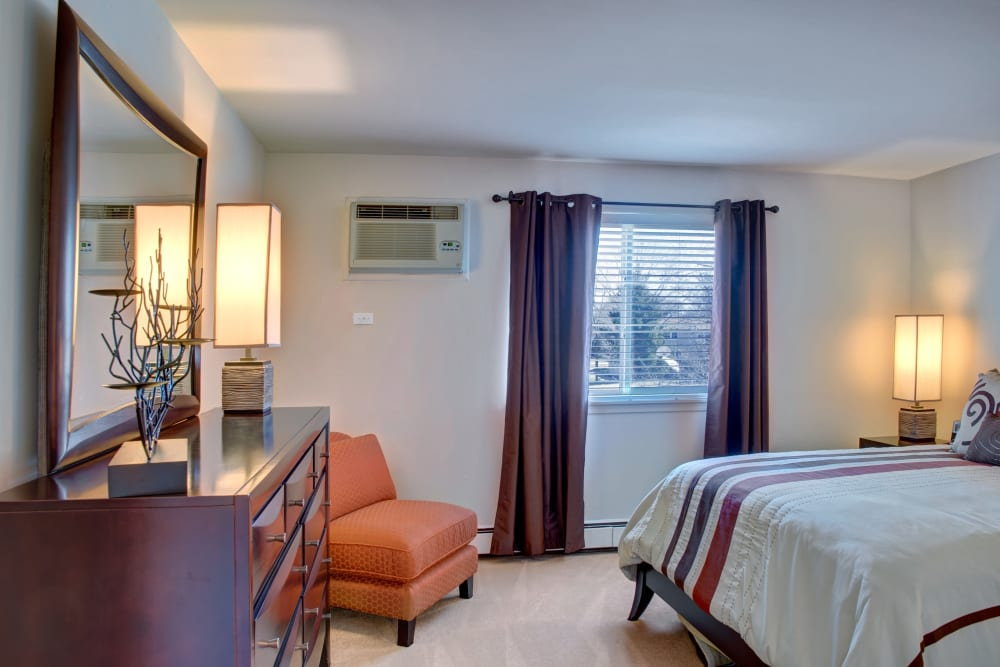 Large windows in the model bedroom at The Gates of Deer Grove in Palatine, Illinois