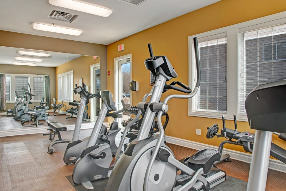 Plenty of aerobic machines in the fitness center at The Gates of Deer Grove in Palatine, Illinois