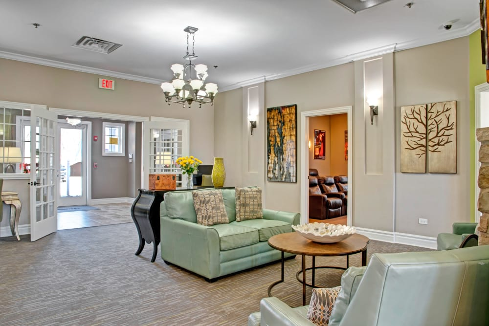 Clubhouse lounge area at The Gates of Deer Grove in Palatine, Illinois