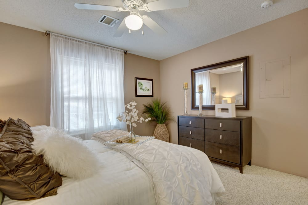Well decorated model bedroom at The Lakes of Schaumburg in Schaumburg, Illinois