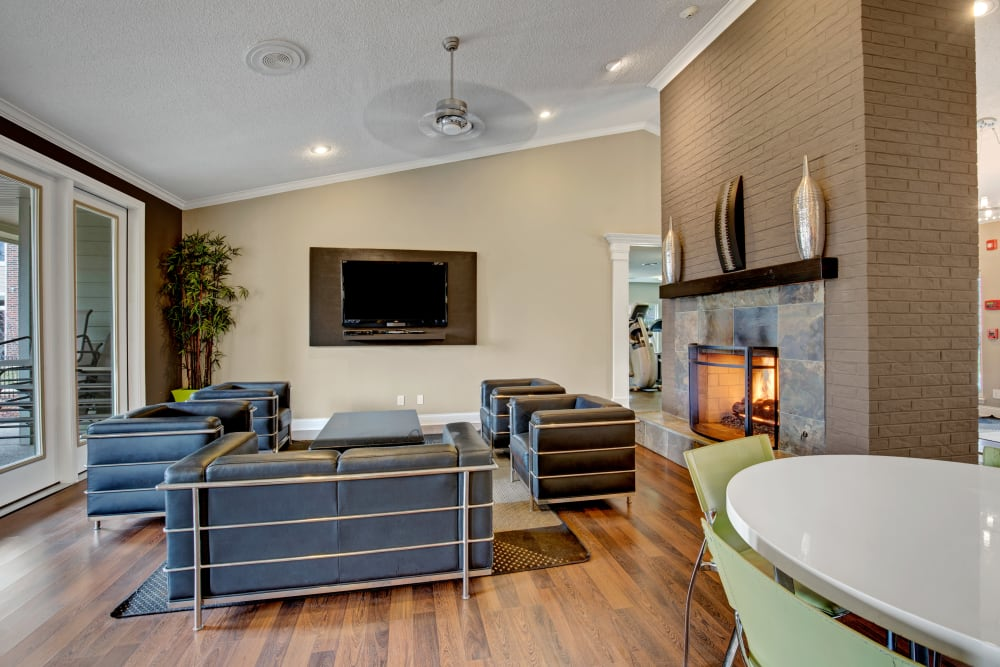 Couches fire side with a TV in the clubhouse at The Lakes of Schaumburg in Schaumburg, Illinois