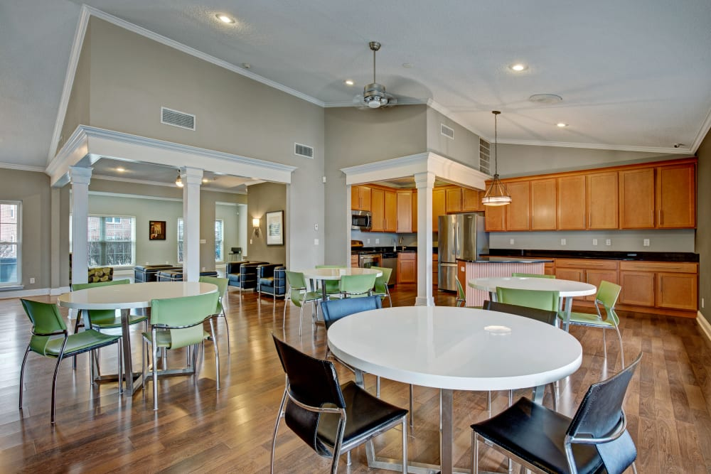 Dining tables near the clubhouse kitchen at The Lakes of Schaumburg in Schaumburg, Illinois
