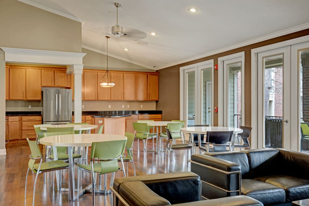 View of the clubhouse kitchen at The Lakes of Schaumburg in Schaumburg, Illinois