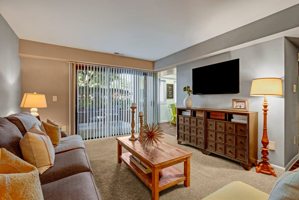 Modern decor with a TV in the living room at The Gateway in Gaithersburg, Maryland