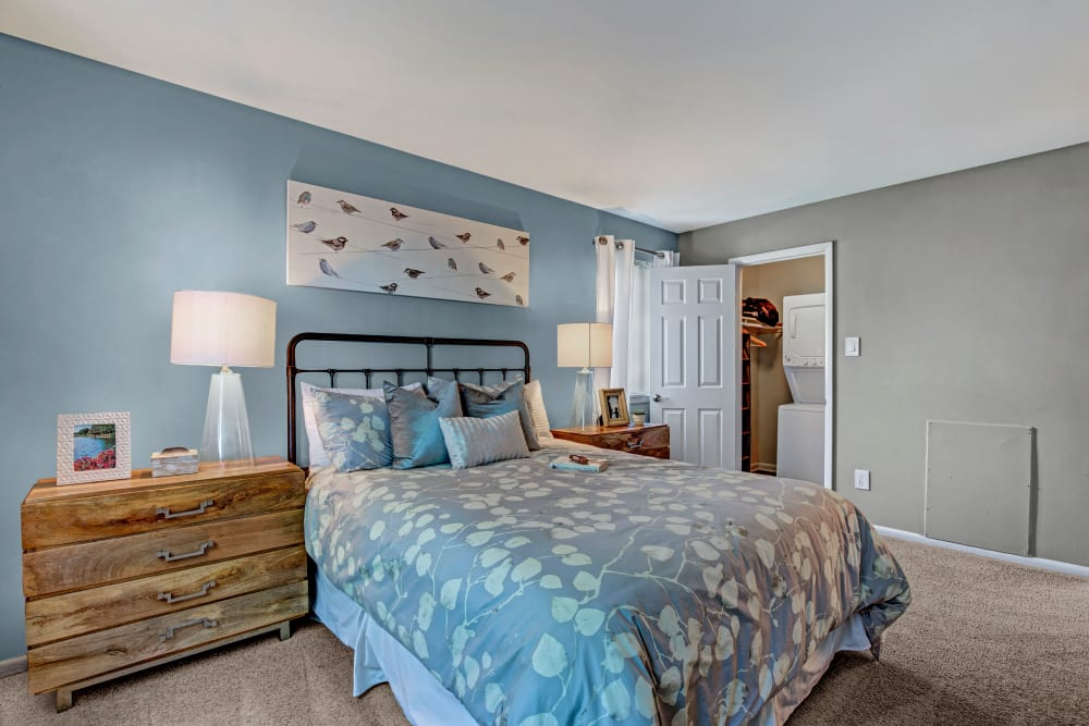 Well decorated model bedroom at The Gateway in Gaithersburg, Maryland