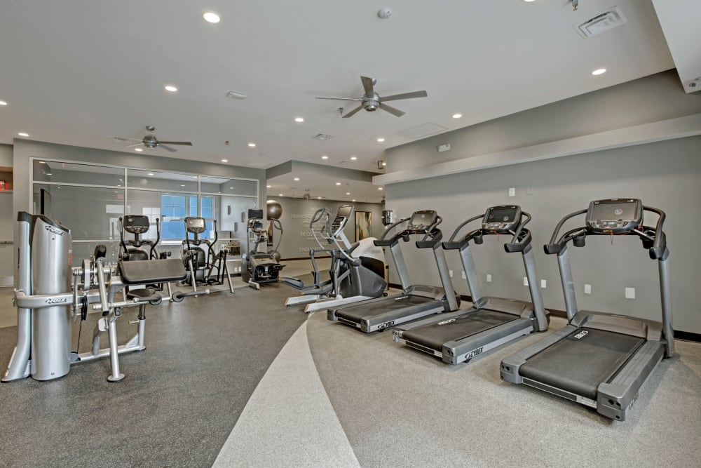 Plenty of treadmills in the fitness center at The Gateway in Gaithersburg, Maryland