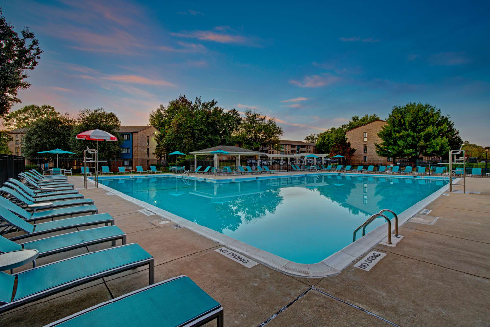 View of the pool during sunset at The Gateway in Gaithersburg, Maryland