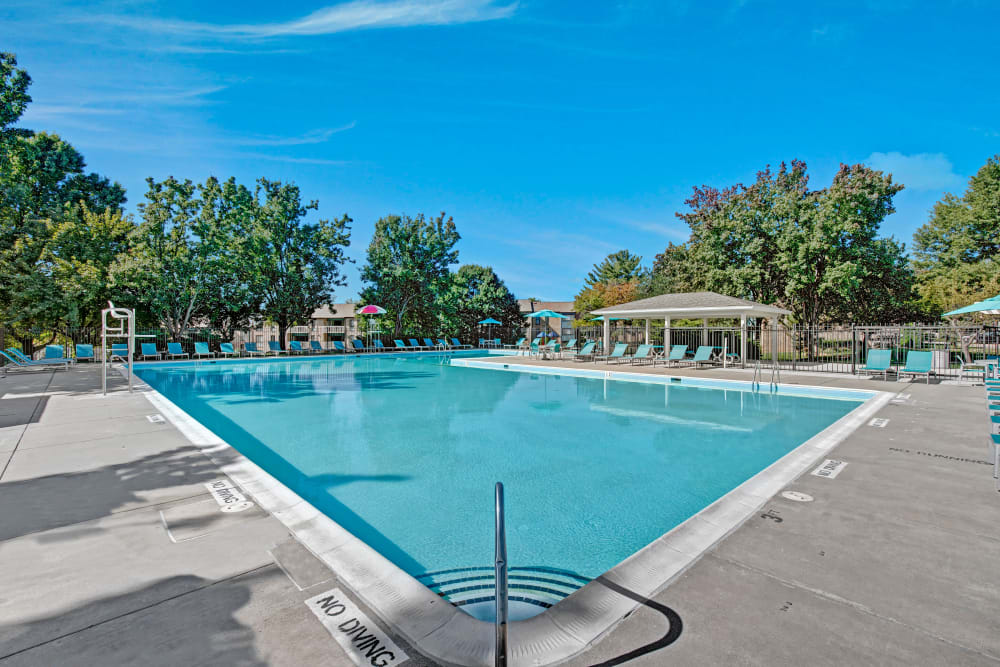 Sparkling swimming pool on a blue sky day at The Gateway in Gaithersburg, Maryland