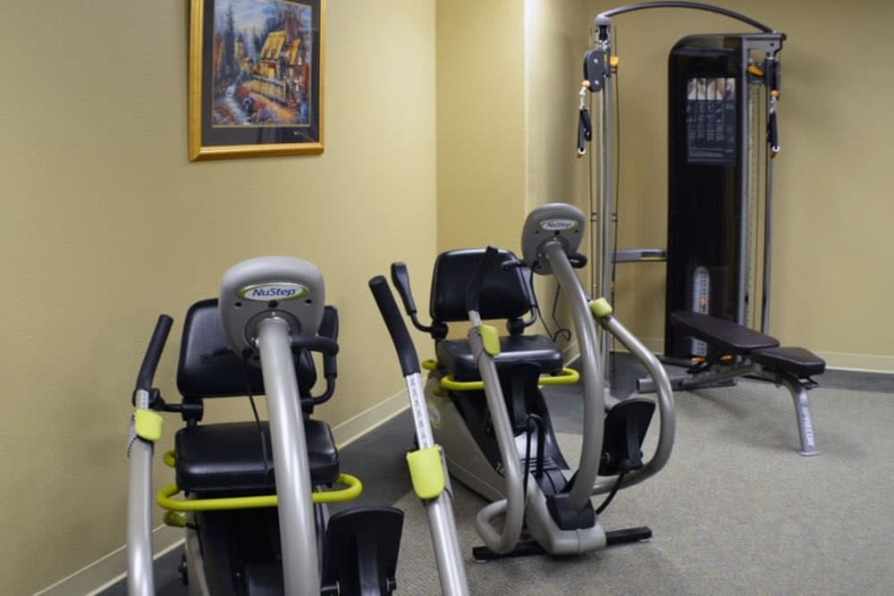 Fitness room at The Lakes at Banning in Banning, California.