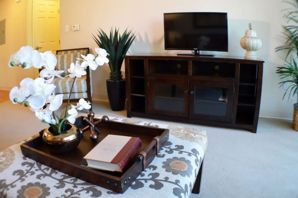 A resident living room at The Lakes at Banning in Banning, California.