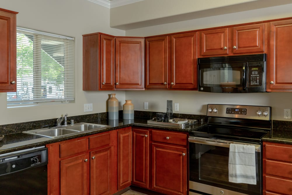 Kitchen with plenty of countertop space at Wolf Ranch Condominium Rentals in Sacramento, California