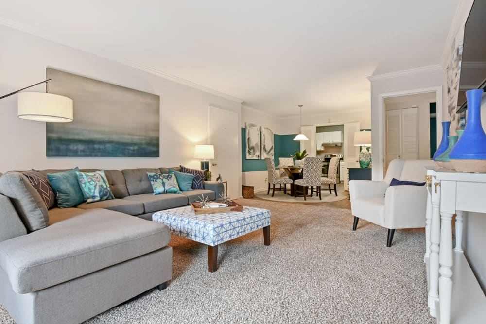 Well-furnished living space with plush carpeting in a model apartment at Crest at Riverside in Roswell, Georgia