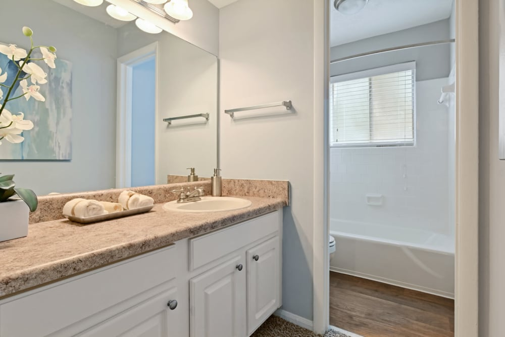 Granite countertop and a large vanity mirror in a model apartment's bathroom at Crest at Riverside in Roswell, Georgia