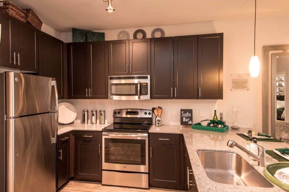 Kitchen featuring stainless steel appliances at Luxe Scottsdale Apartments in Scottsdale, Arizona