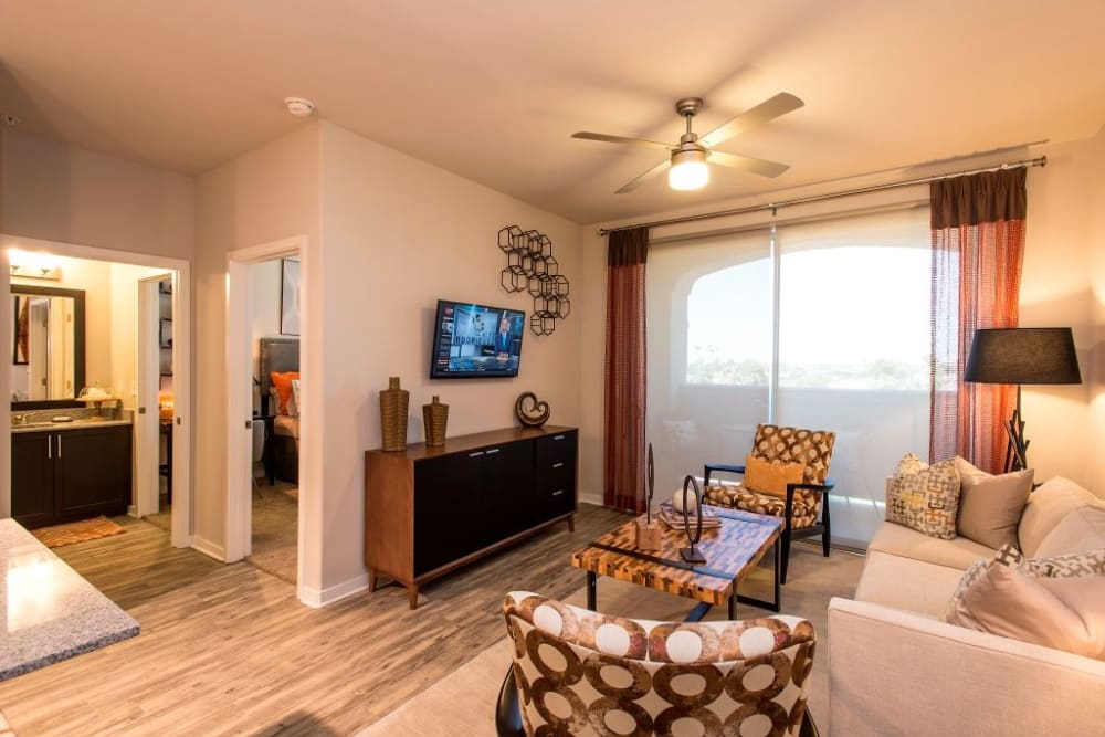 Stylish be decorated living room at Luxe Scottsdale Apartments in Scottsdale, Arizona