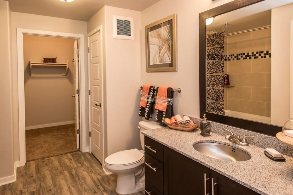 Bathroom at Luxe Scottsdale Apartments in Scottsdale features a large vanity mirror and dark wood cabinets